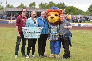 Brian Gray receives Monarchs Fans Trust cheque (28th August), Photo courtesy of Ron MacNeill.